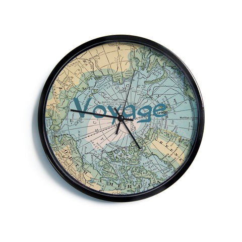 "Catherine Holcombe ""Voyage"" Teal Map Modern Wall Clock"