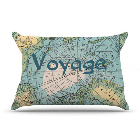"Catherine Holcombe ""Voyage"" Teal Map Pillow Sham - KESS InHouse"