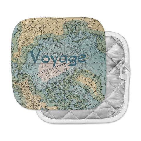 "Catherine Holcombe ""Voyage"" Teal Map Pot Holder"