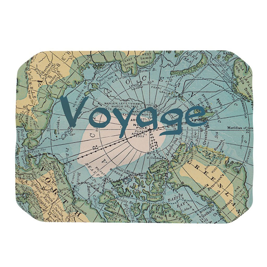 "Catherine Holcombe ""Voyage"" Teal Map Place Mat - KESS InHouse"