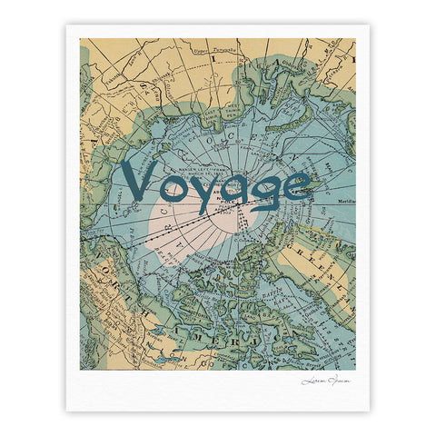 "Catherine Holcombe ""Voyage"" Teal Map Fine Art Gallery Print - KESS InHouse"