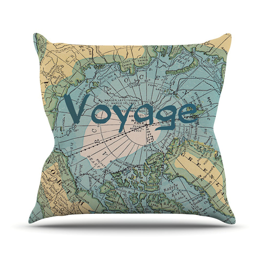 "Catherine Holcombe ""Voyage"" Teal Map Outdoor Throw Pillow - KESS InHouse  - 1"