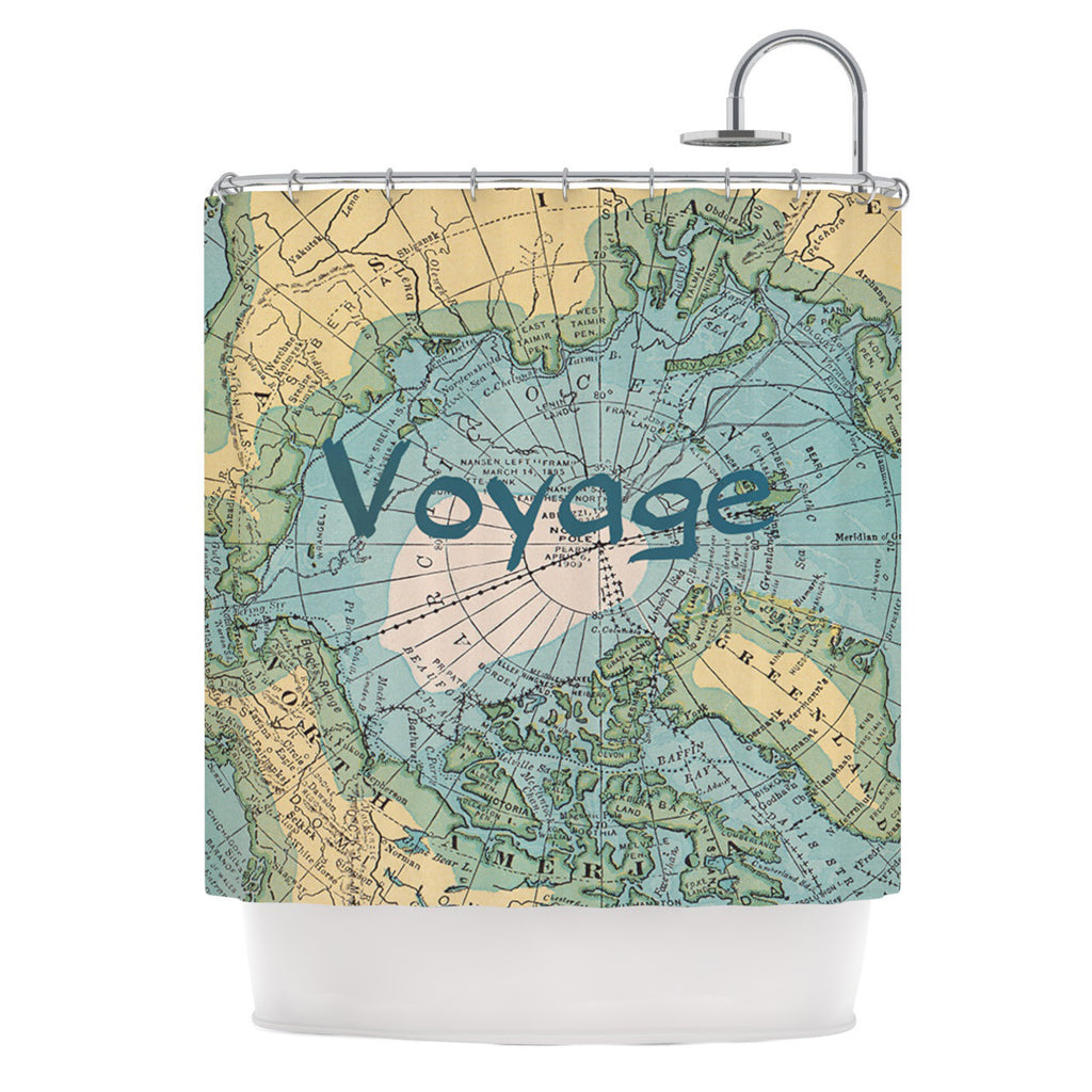 "Catherine Holcombe ""Voyage"" Teal Map Shower Curtain - KESS InHouse"