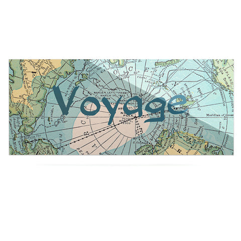 "Catherine Holcombe ""Voyage"" Teal Map Luxe Rectangle Panel - KESS InHouse  - 1"