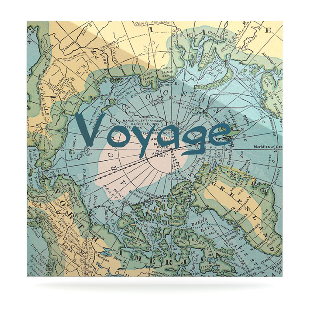 "Catherine Holcombe ""Voyage"" Teal Map Luxe Square Panel - KESS InHouse  - 1"