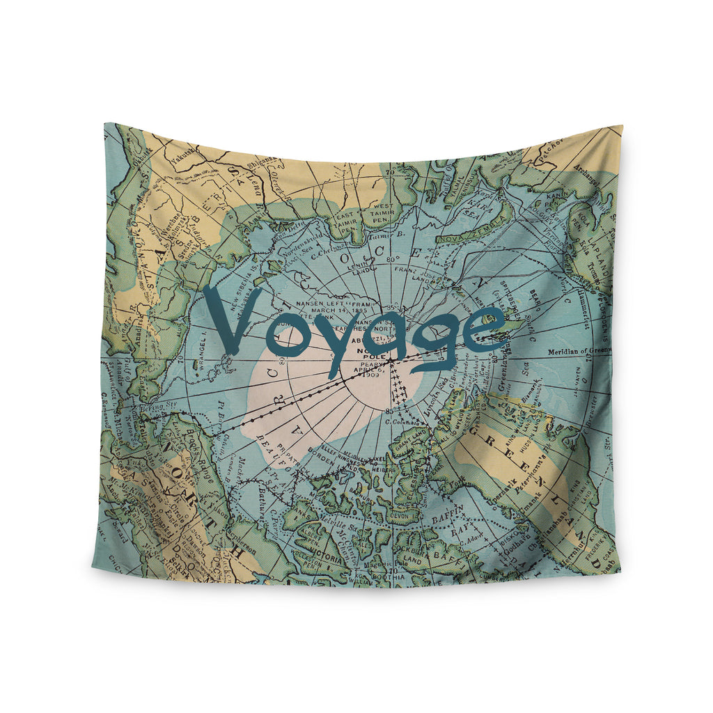 "Catherine Holcombe ""Voyage"" Teal Map Wall Tapestry - KESS InHouse  - 1"