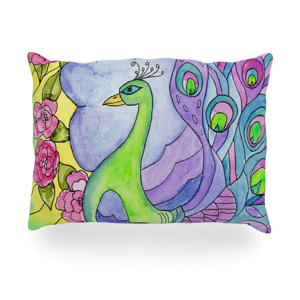 "Catherine Holcombe ""Stained Glass Watercolor Peacock"" Purple Green Oblong Pillow - KESS InHouse"