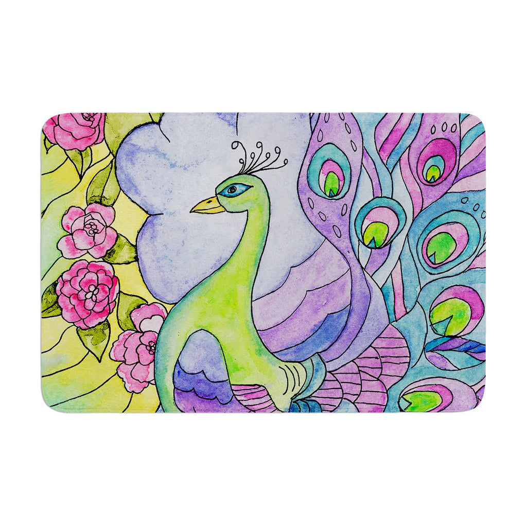 "Catherine Holcombe ""Stained Glass Watercolor Peacock"" Purple Green Memory Foam Bath Mat - KESS InHouse"