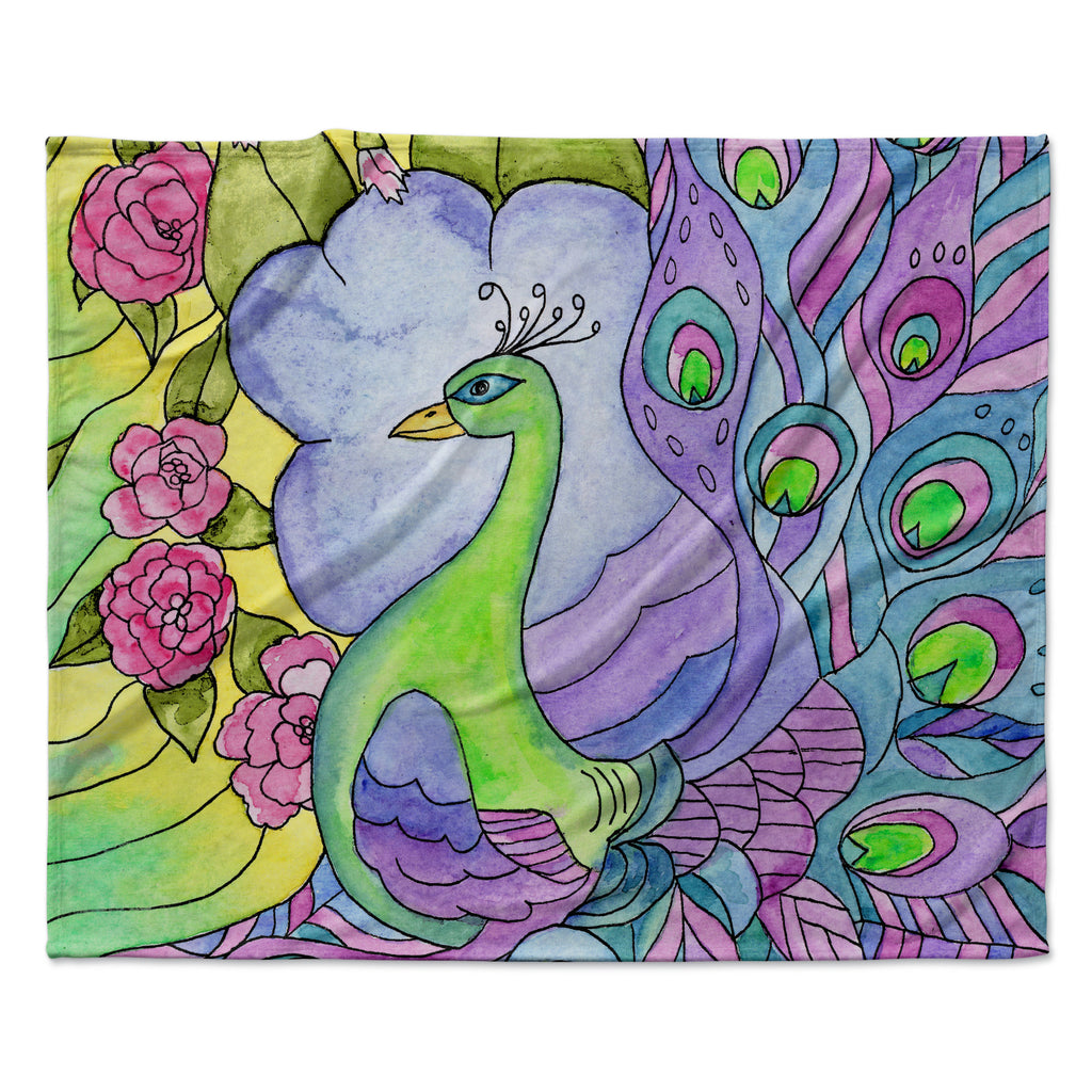 "Catherine Holcombe ""Stained Glass Watercolor Peacock"" Purple Green Fleece Throw Blanket"
