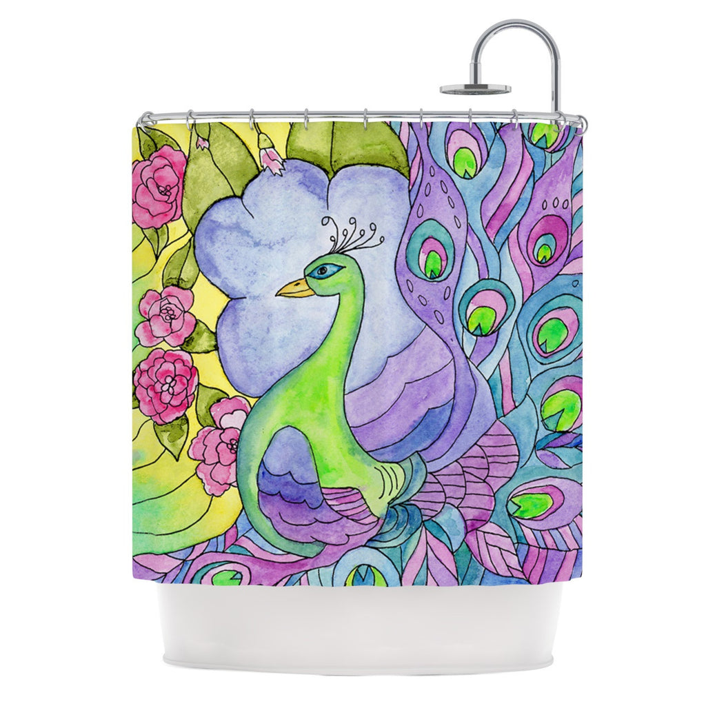 "Catherine Holcombe ""Stained Glass Watercolor Peacock"" Purple Green Shower Curtain - KESS InHouse"