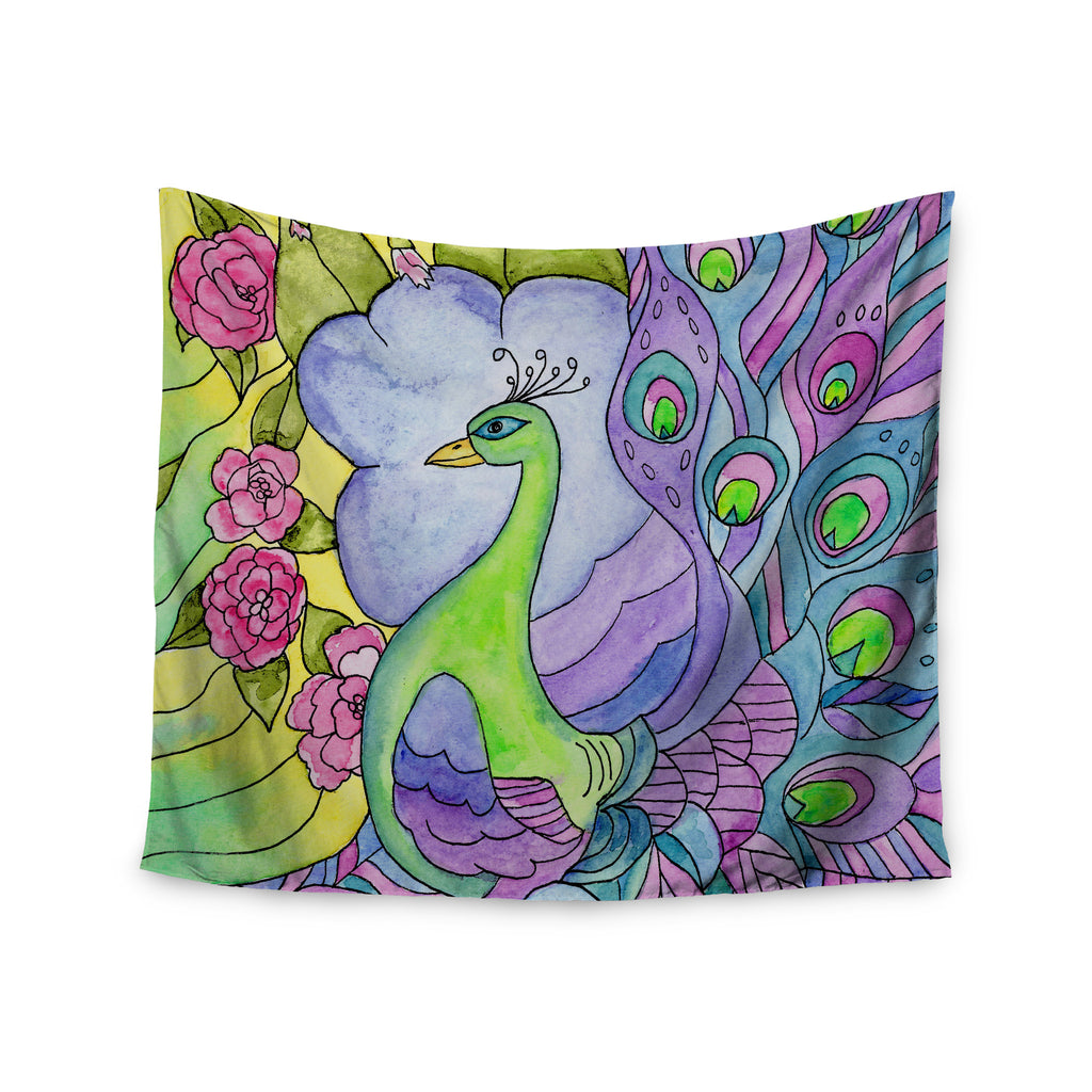 "Catherine Holcombe ""Stained Glass Watercolor Peacock"" Purple Green Wall Tapestry - KESS InHouse  - 1"