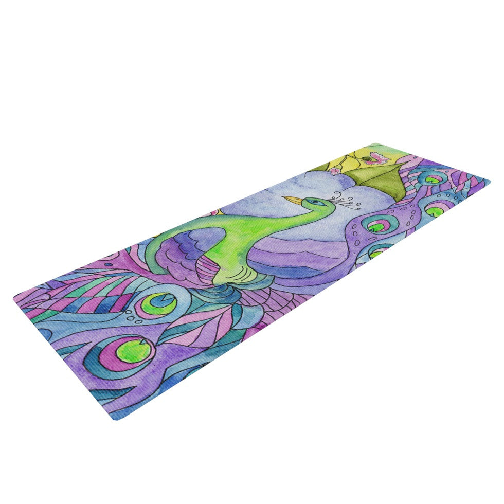 "Catherine Holcombe ""Stained Glass Watercolor Peacock"" Purple Green Yoga Mat - KESS InHouse  - 1"