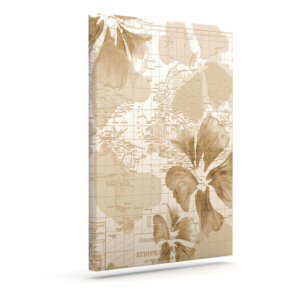 "Catherine Holcombe ""Flower Power Tan"" Brown Map Canvas Art - KESS InHouse  - 1"