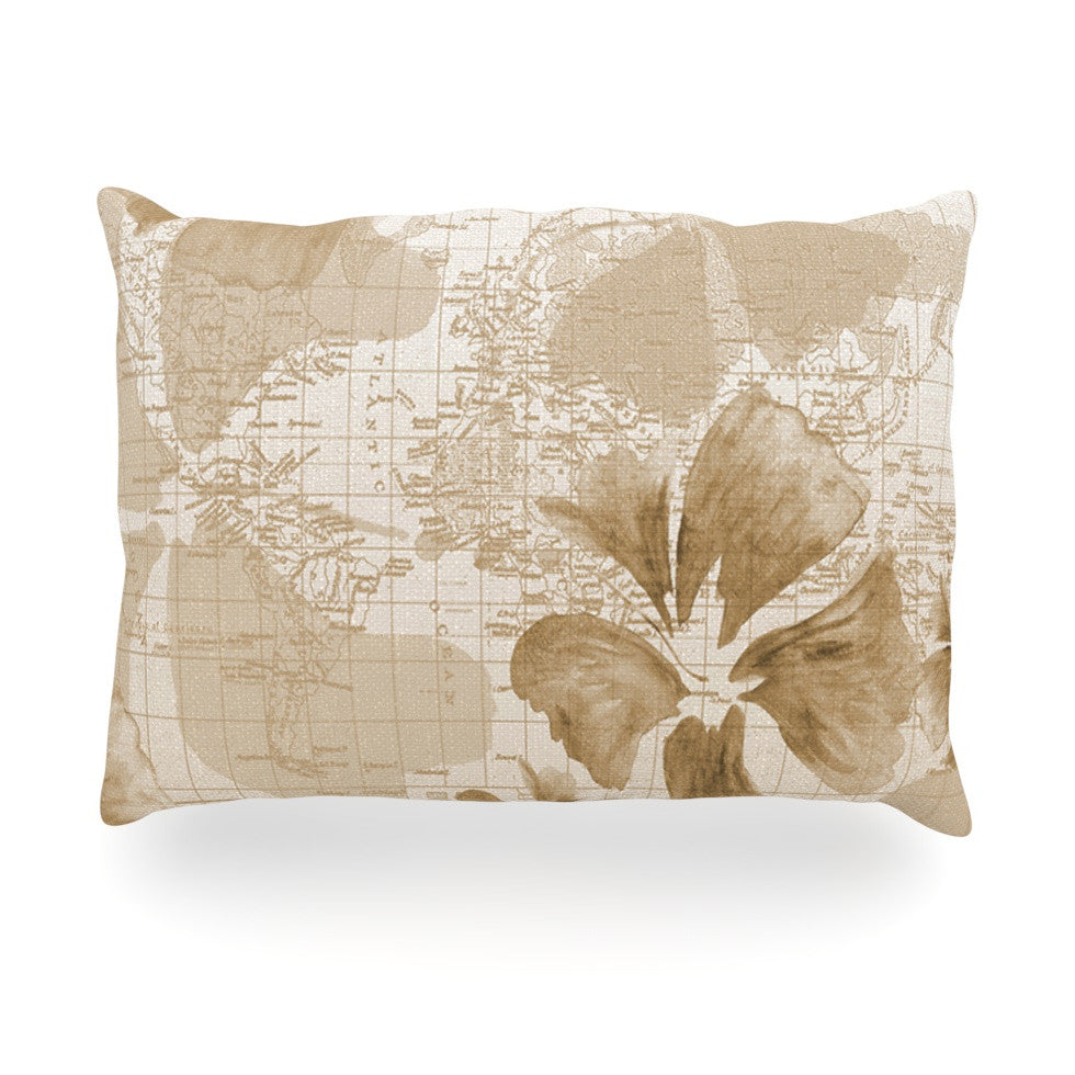 "Catherine Holcombe ""Flower Power Tan"" Brown Map Oblong Pillow - KESS InHouse"