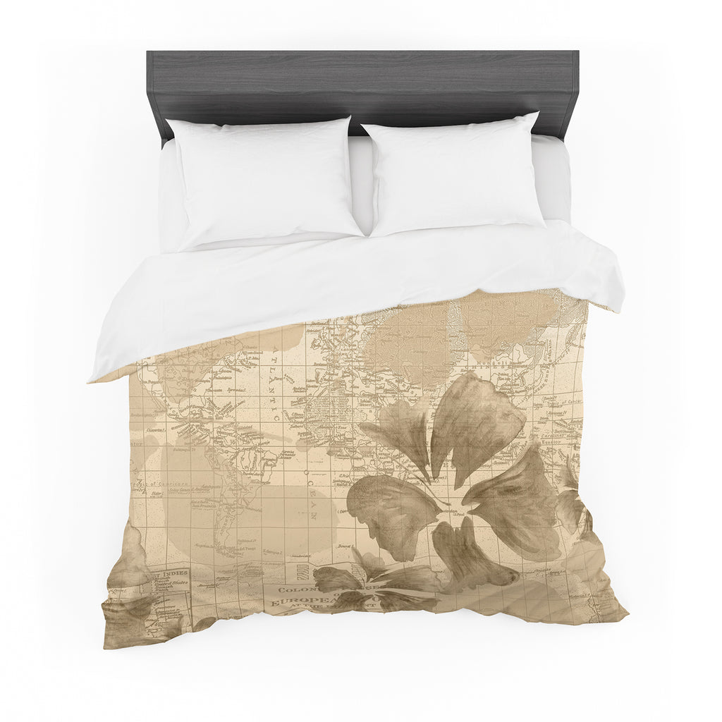 "Catherine Holcombe ""Flower Power Tan"" Brown Map Featherweight Duvet Cover"