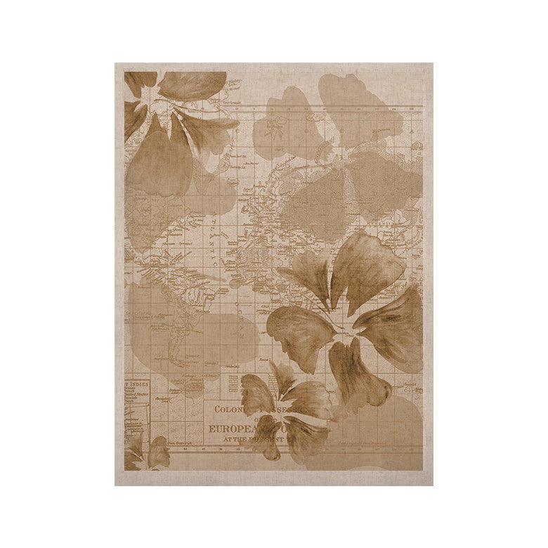 "Catherine Holcombe ""Flower Power Tan"" Brown Map KESS Naturals Canvas (Frame not Included) - KESS InHouse  - 1"