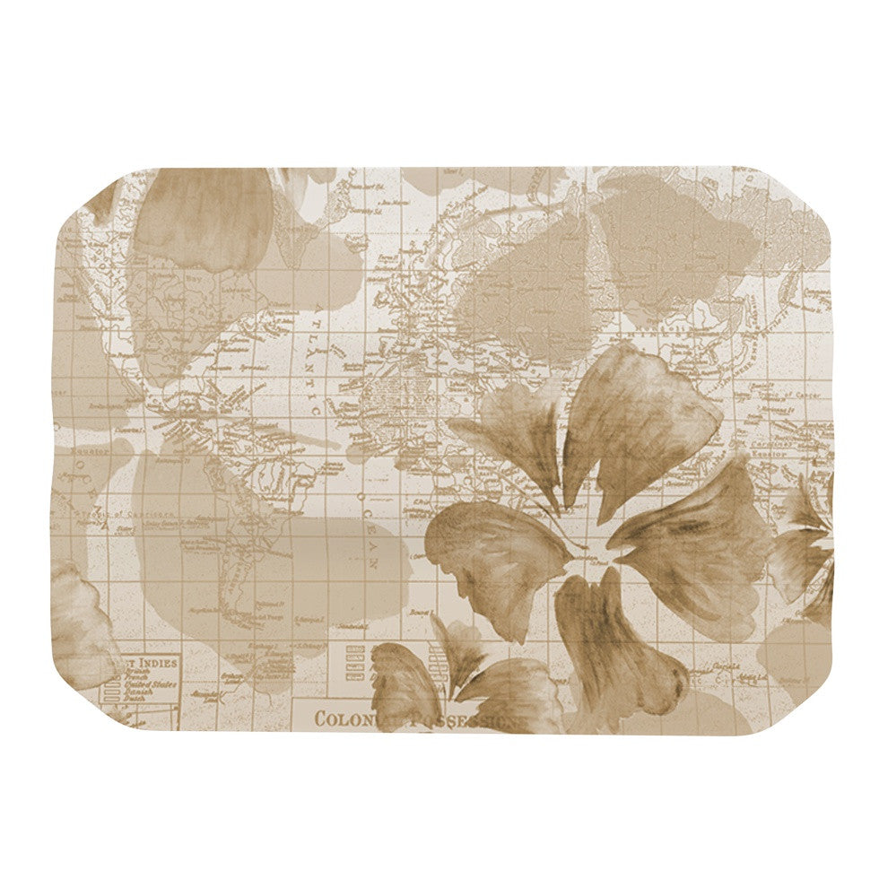 "Catherine Holcombe ""Flower Power Tan"" Brown Map Place Mat - KESS InHouse"