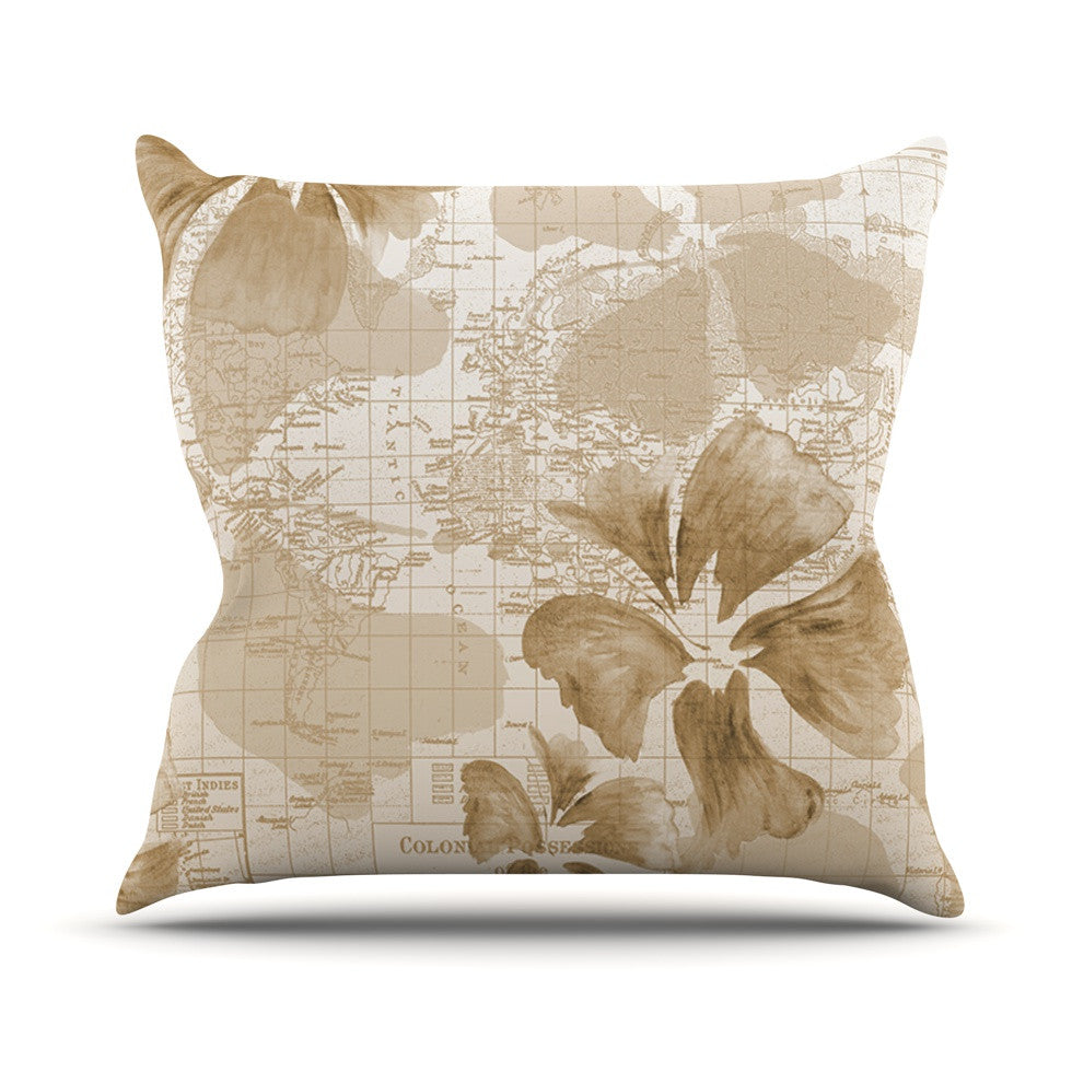 "Catherine Holcombe ""Flower Power Tan"" Brown Map Outdoor Throw Pillow - KESS InHouse  - 1"