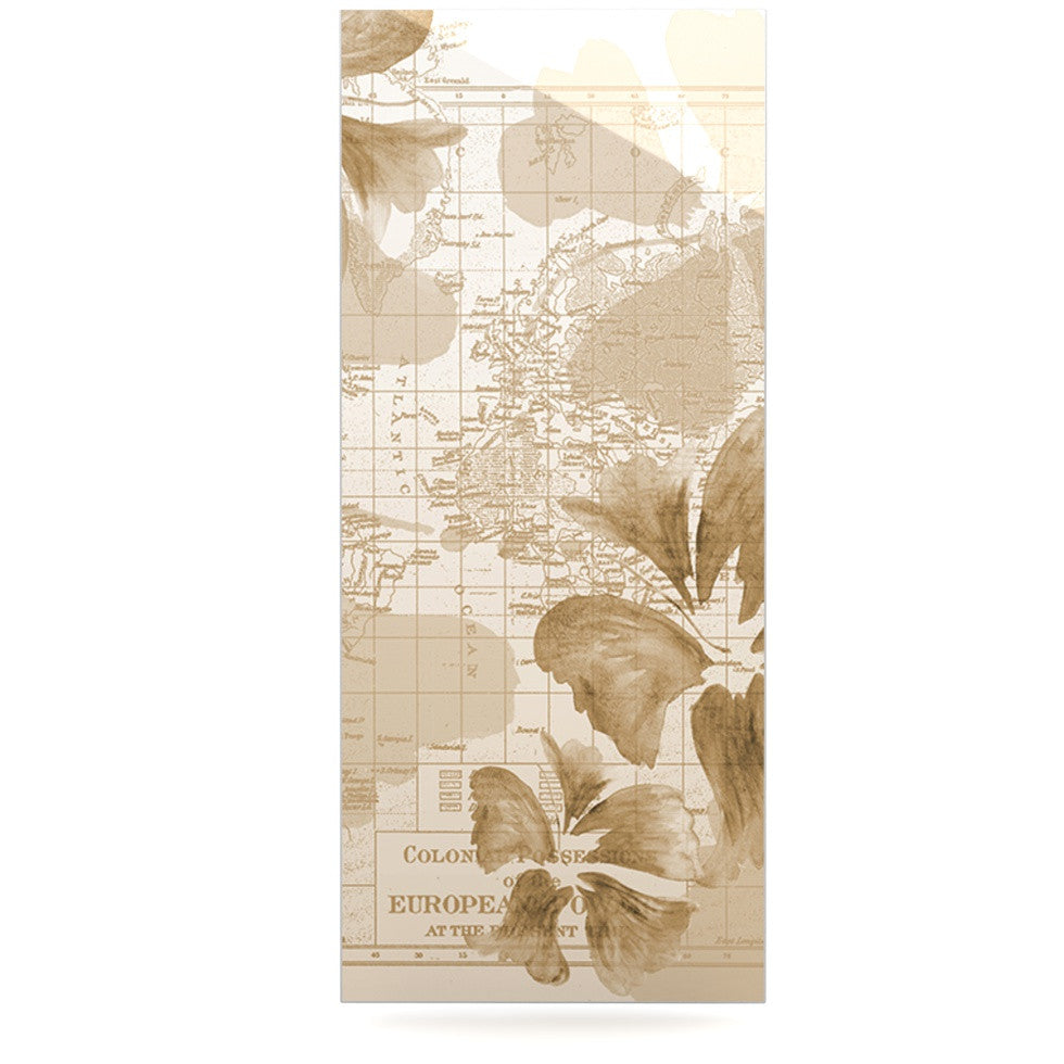 "Catherine Holcombe ""Flower Power Tan"" Brown Map Luxe Rectangle Panel - KESS InHouse  - 1"