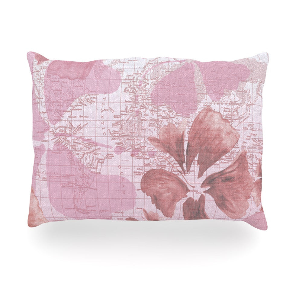 "Catherine Holcombe ""Flower Power Pink"" Map Oblong Pillow - KESS InHouse"