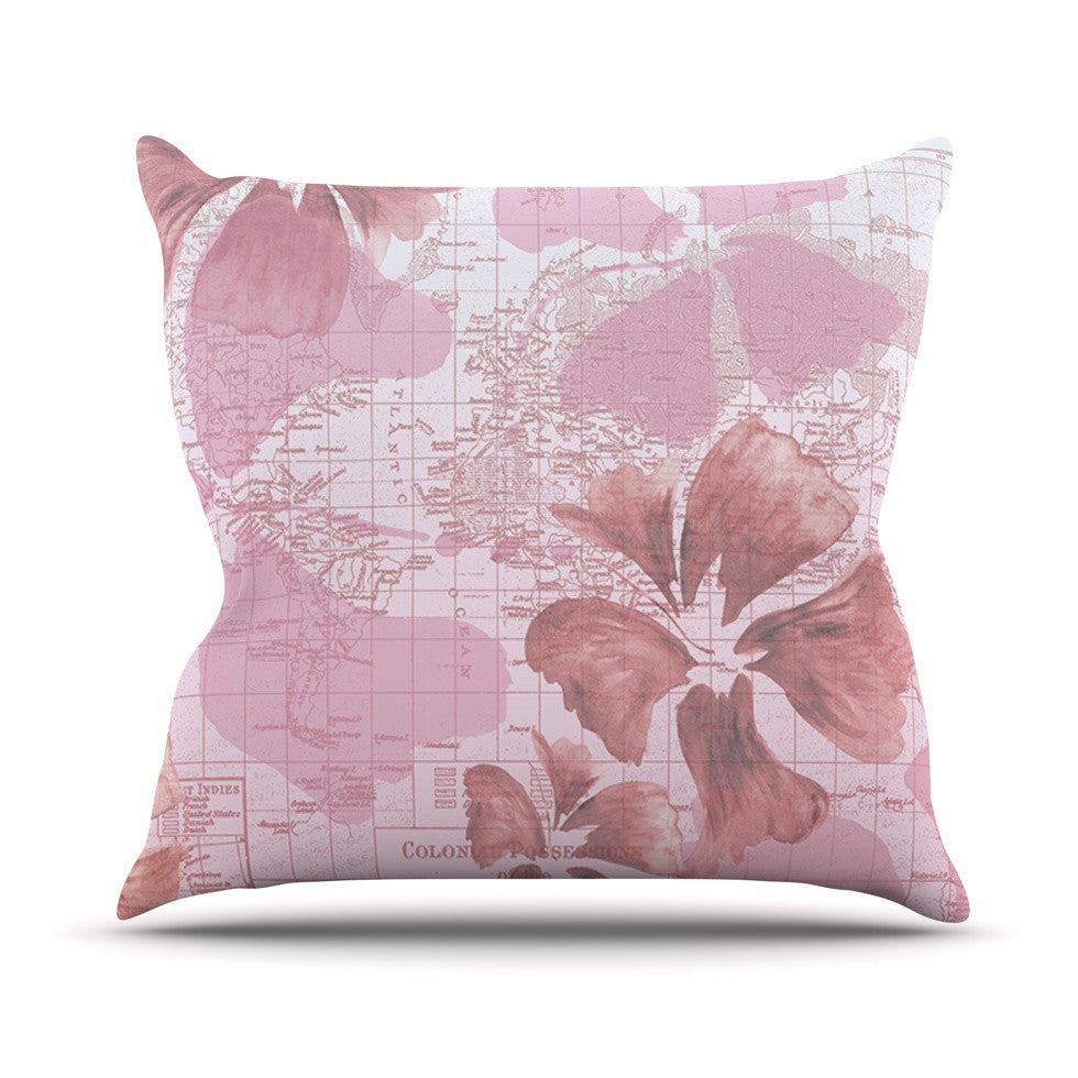 "Catherine Holcombe ""Flower Power Pink"" Map Outdoor Throw Pillow - KESS InHouse  - 1"