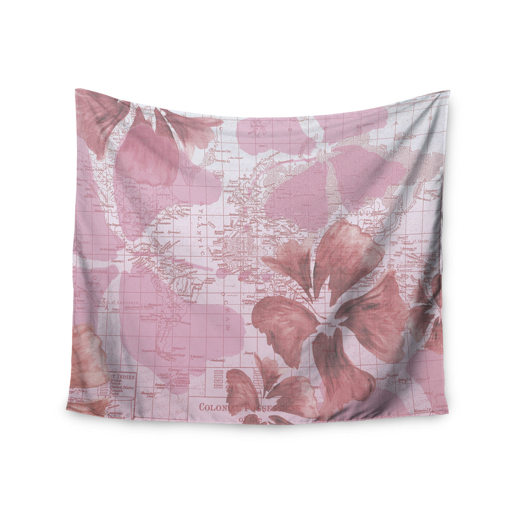 "Catherine Holcombe ""Flower Power Pink"" Map Wall Tapestry - KESS InHouse  - 1"