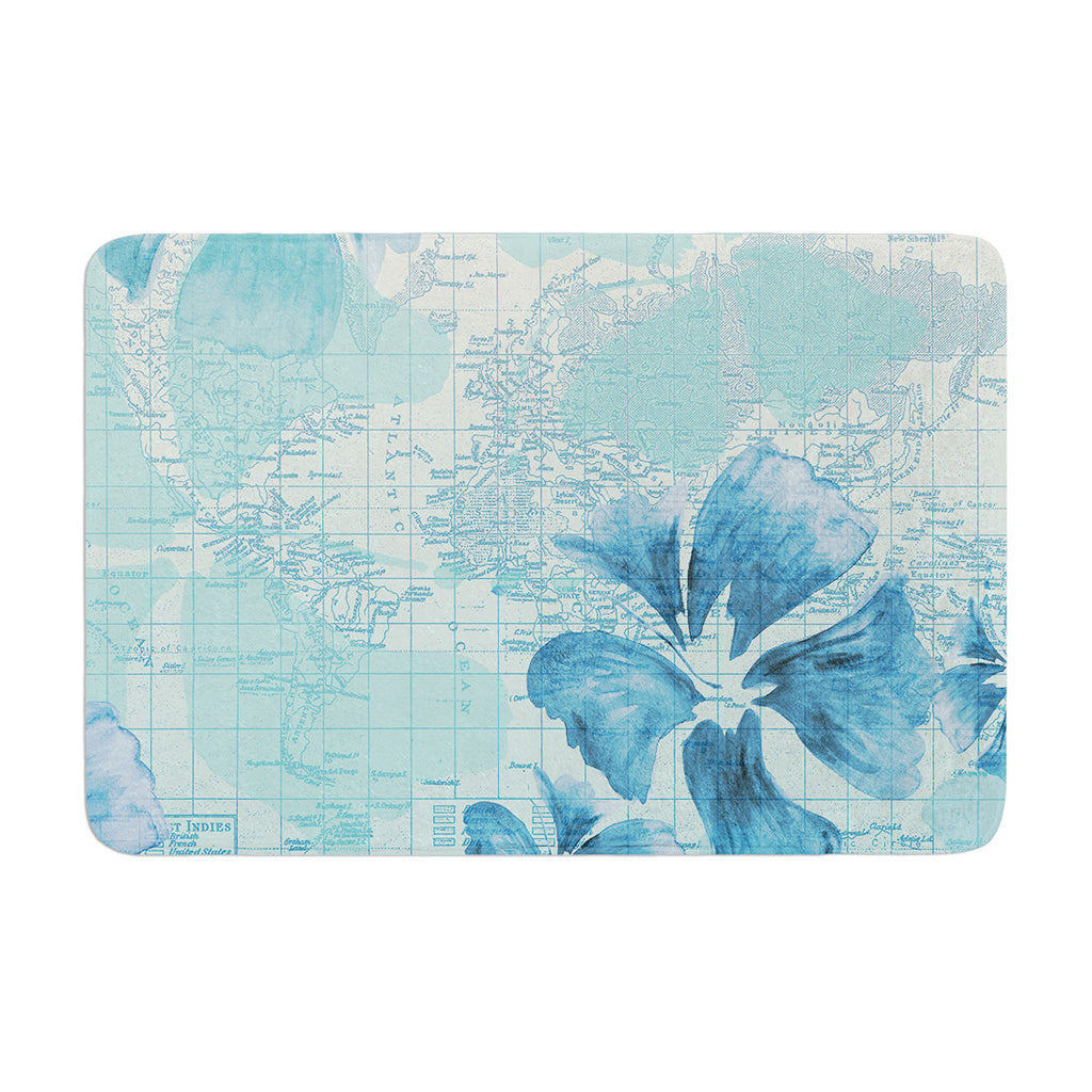 "Catherine Holcombe ""Flower Power Blue"" Aqua Map Memory Foam Bath Mat - KESS InHouse"