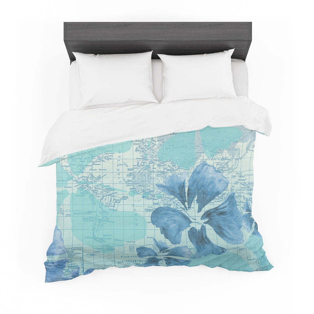 "Catherine Holcombe ""Flower Power Blue"" Aqua Map Featherweight Duvet Cover"