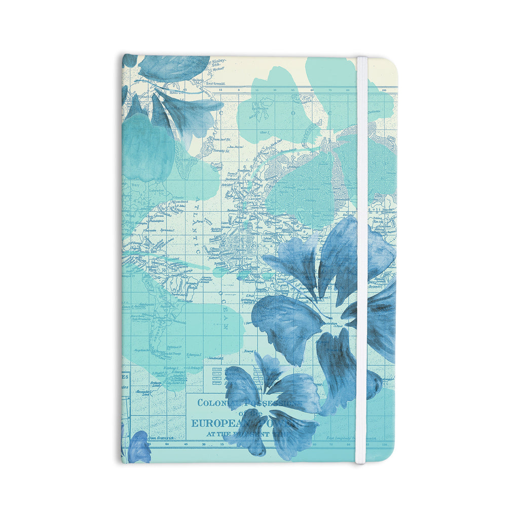"Catherine Holcombe ""Flower Power Blue"" Aqua Map Everything Notebook - KESS InHouse  - 1"