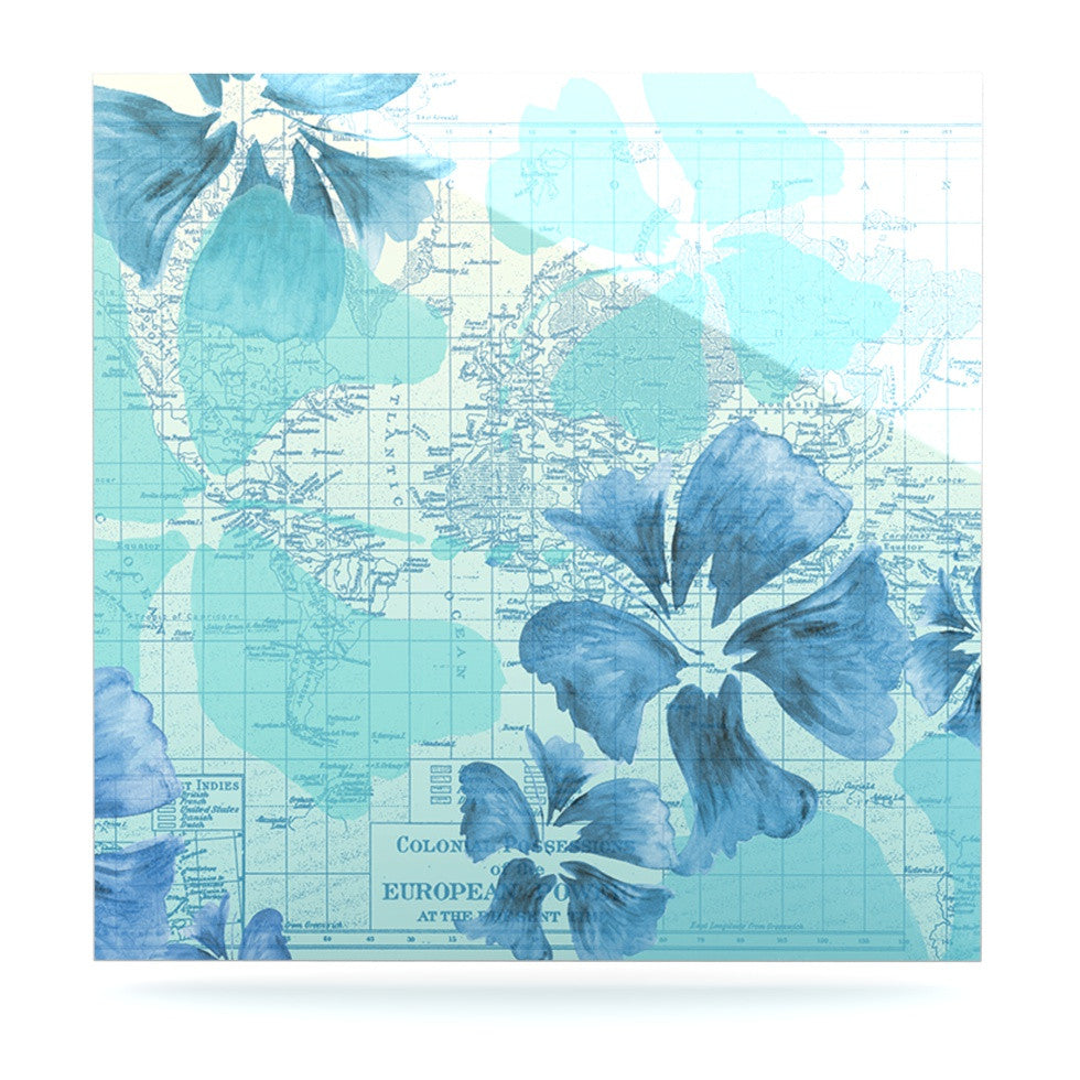 "Catherine Holcombe ""Flower Power Blue"" Aqua Map Luxe Square Panel - KESS InHouse  - 1"