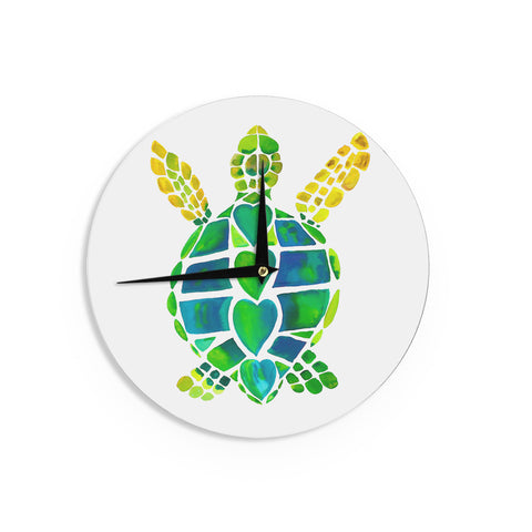 "Catherine Holcombe ""Turtle Love"" Green Teal Wall Clock - KESS InHouse"