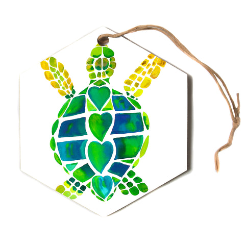 "Catherine Holcombe ""Turtle Love"" Green Teal Hexagon Holiday Ornament"