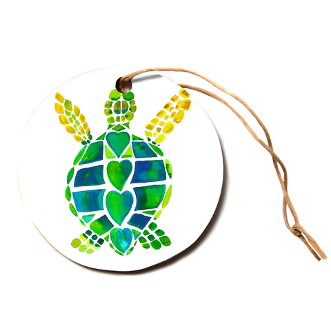"Catherine Holcombe ""Turtle Love"" Green Teal Circle Holiday Ornament"