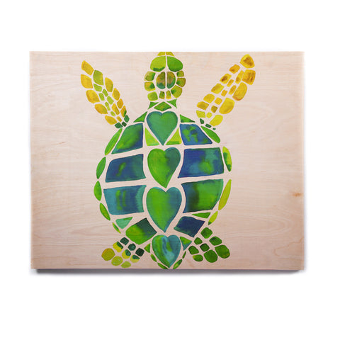 "Catherine Holcombe ""Turtle Love"" Green Teal Birchwood Wall Art - KESS InHouse  - 1"