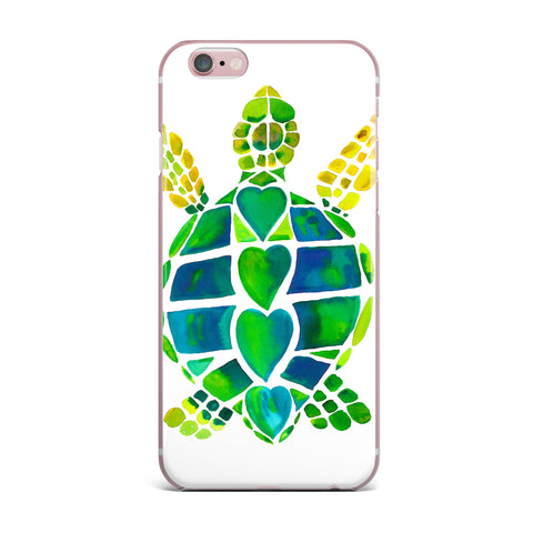 "Catherine Holcombe ""Turtle Love"" Green Teal iPhone Case - KESS InHouse"