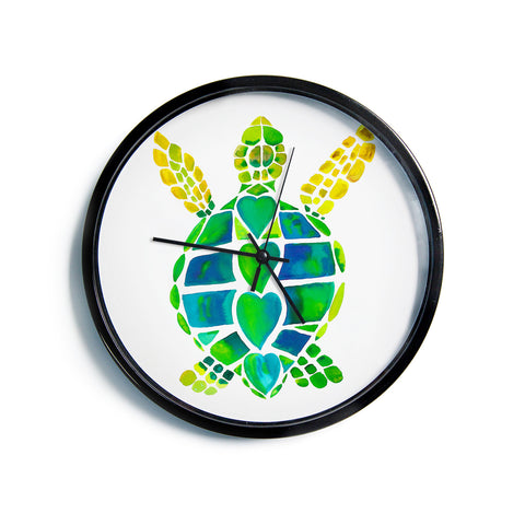"Catherine Holcombe ""Turtle Love"" Green Teal Modern Wall Clock"