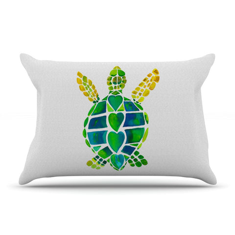 "Catherine Holcombe ""Turtle Love"" Green Teal Pillow Sham - KESS InHouse"