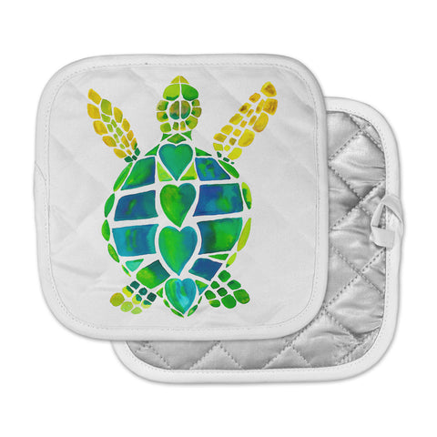 "Catherine Holcombe ""Turtle Love"" Green Teal Pot Holder"