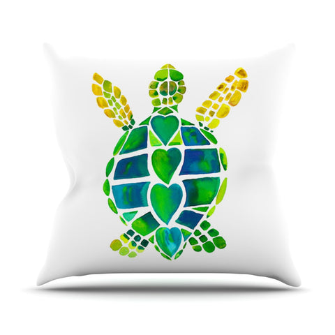 "Catherine Holcombe ""Turtle Love"" Green Teal Outdoor Throw Pillow - KESS InHouse  - 1"