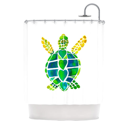 "Catherine Holcombe ""Turtle Love"" Green Teal Shower Curtain - KESS InHouse"