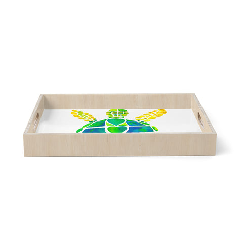 "Catherine Holcombe ""Turtle Love"" Green Teal Birchwood Tray"