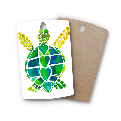 "Catherine Holcombe ""Turtle Love"" Green Teal Rectangle Wooden Cutting Board"