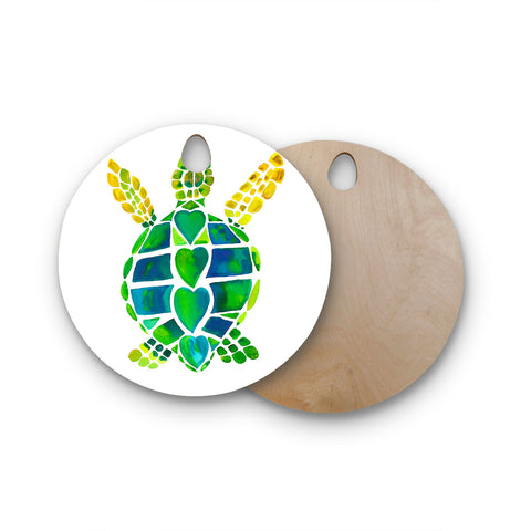 "Catherine Holcombe ""Turtle Love"" Green Teal Round Wooden Cutting Board"