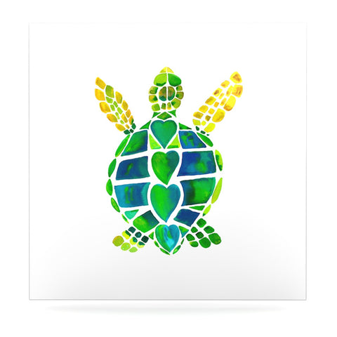"Catherine Holcombe ""Turtle Love"" Green Teal Luxe Square Panel - KESS InHouse  - 1"