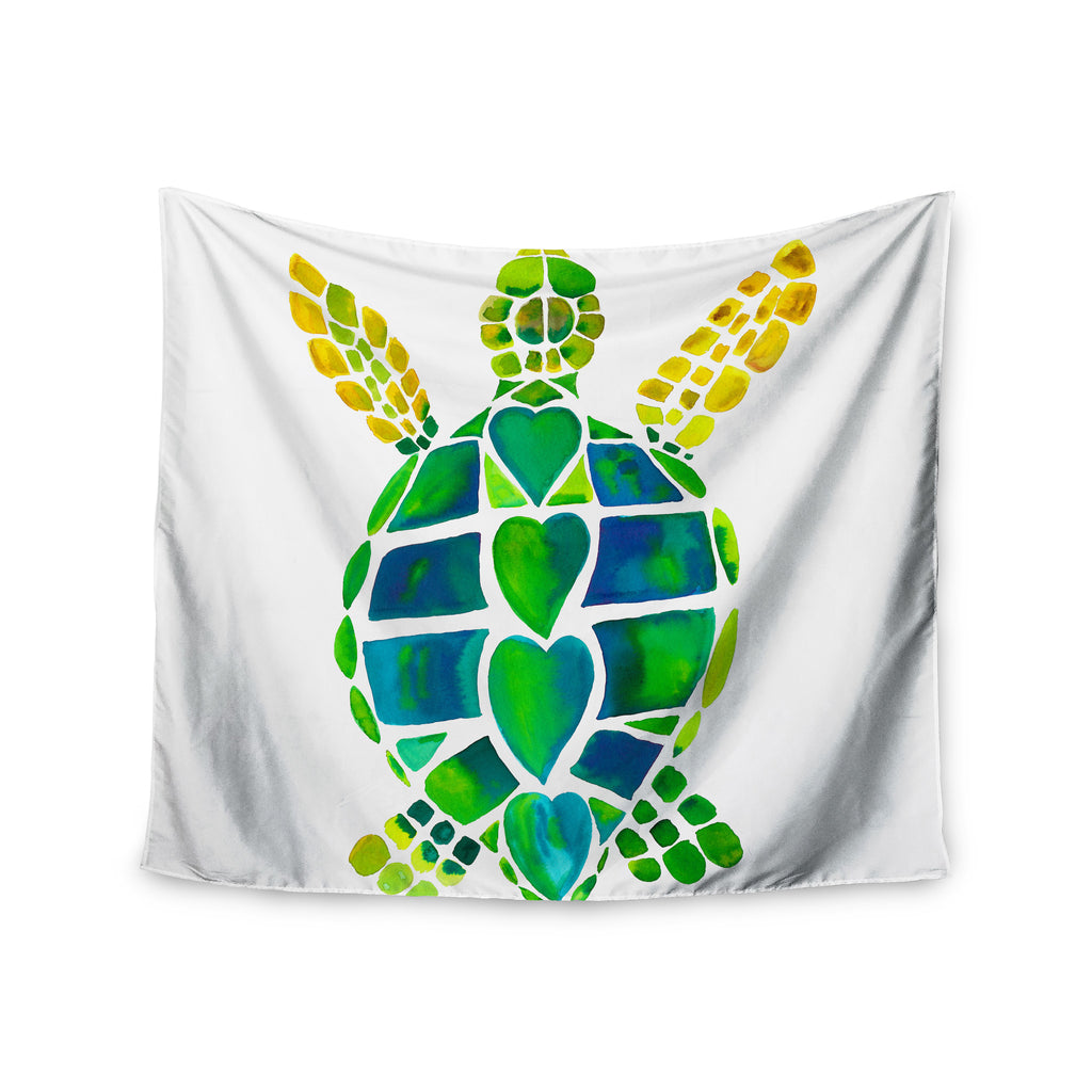 "Catherine Holcombe ""Turtle Love"" Green Teal Wall Tapestry - KESS InHouse  - 1"