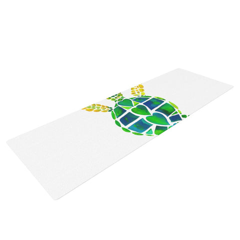 "Catherine Holcombe ""Turtle Love"" Green Teal Yoga Mat - KESS InHouse  - 1"