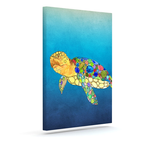 "Catherine Holcombe ""Bubbles"" Blue Turtle Canvas Art - KESS InHouse  - 1"