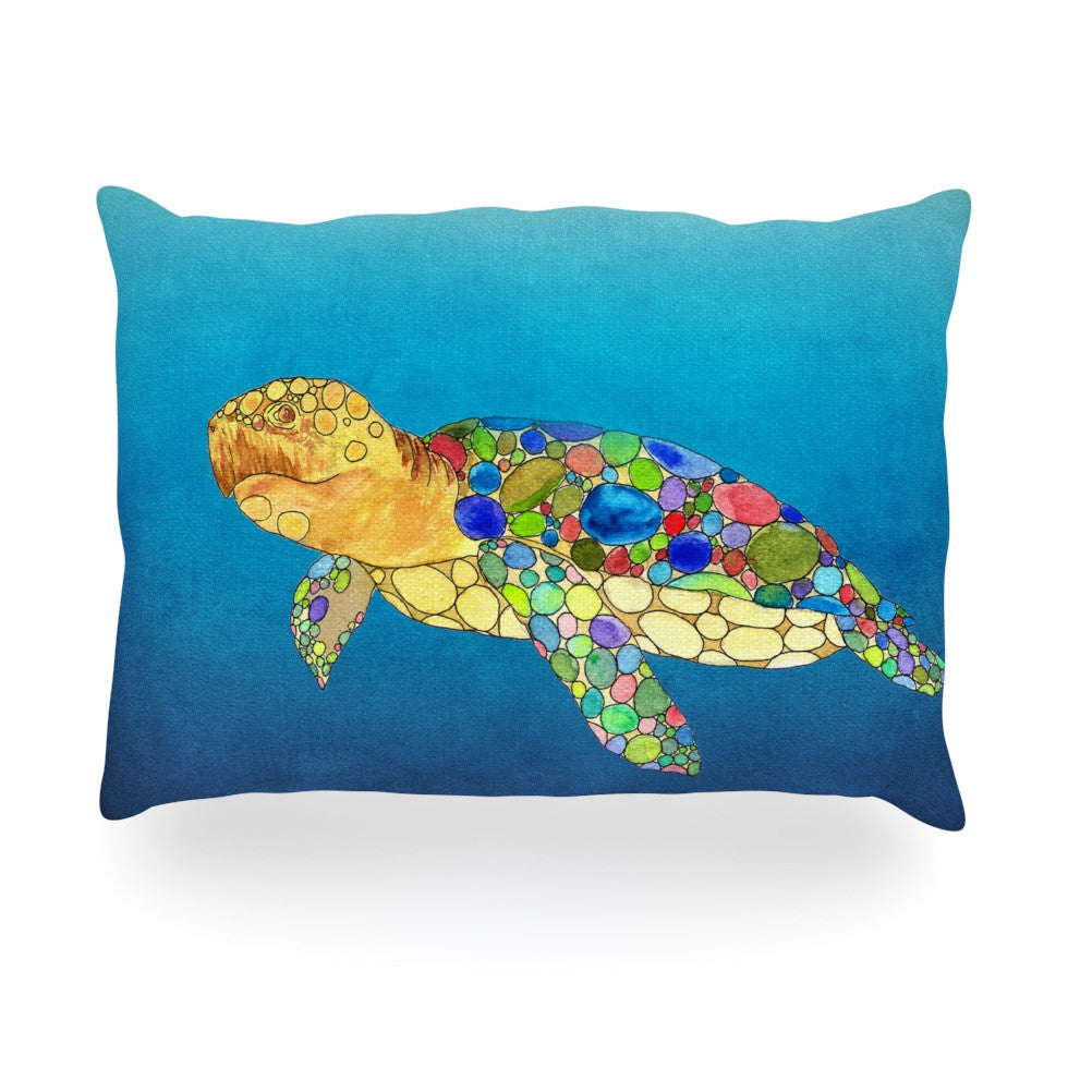 "Catherine Holcombe ""Bubbles"" Blue Turtle Oblong Pillow - KESS InHouse"