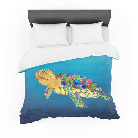 "Catherine Holcombe ""Bubbles"" Blue Turtle Featherweight Duvet Cover"