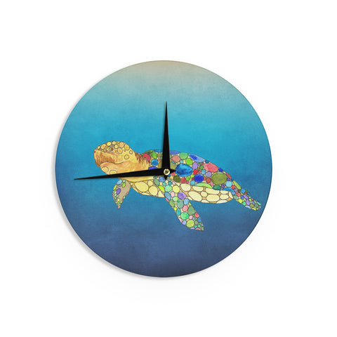 "Catherine Holcombe ""Bubbles"" Blue Turtle Wall Clock - KESS InHouse"